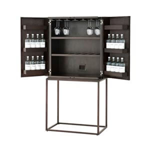 Contemporary Bar Cabinet with Multiple Shelving and Metal Frame S...