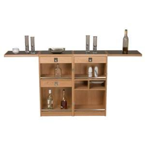 Contemporary Folding Bar Cabinet with Flip-out Serving Tops