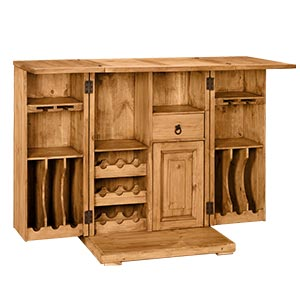 Transitional Unfolding Bar Cabinet with Multi storage and Flip-ou...