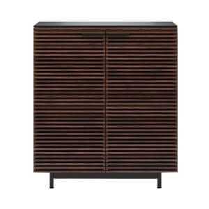Modern Wooden Bar Cabinet with Louvered Door and Sled Legs