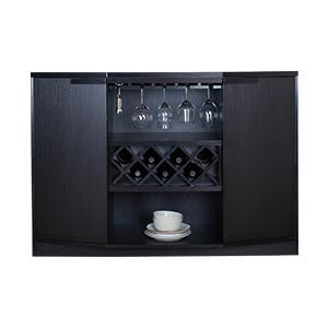 Contemporary Bar Cabinet with Open and Closed Storage and Serving...