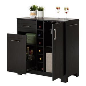 Contemporary Multi-functional Bar Cabinet with Centered Wine Bott...