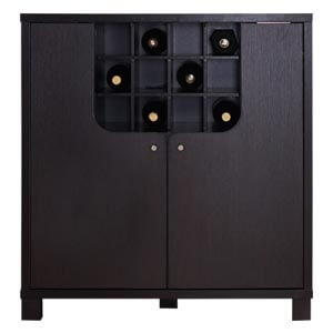 Modern Dual Storage Bar Cabinet with L-shaped Doors and Open Bott...