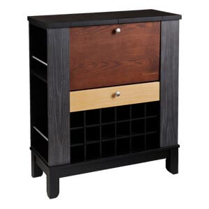 Modern Compact Bar Cabinet with Pull-down Front and Flip-out Serv...