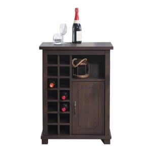 Transitional Single Door Compact Bar Cabinet with Block Legs