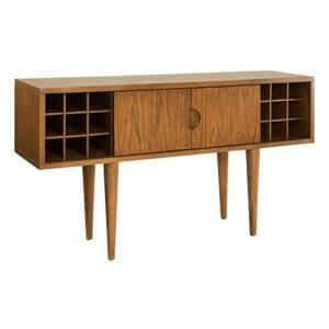 Modern Wine Bar Cabinet with Bottle and Glass Storage Slots
