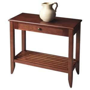 Transitional Console Table with Slatted Shelf