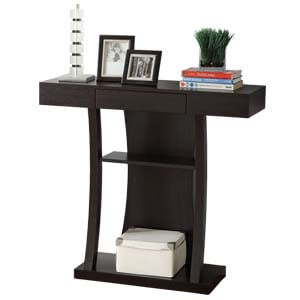 Contemporary T-shape Console Table with Storage and Display