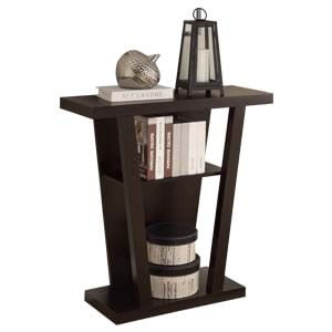 Contemporary V-Shape Console Table with Dual Storage and Display