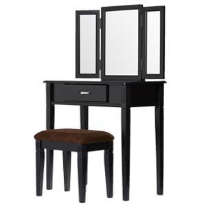 Contemporary Dressing Table with Mirror and Tapered Legs
