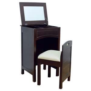 Contemporary Dressing Table with Mirror and Stowaway Chair