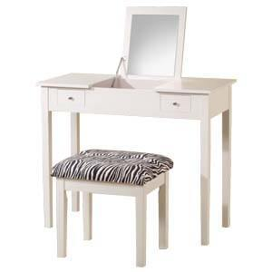 Transitional Dressing Table with Mirror and Cushioned Seat