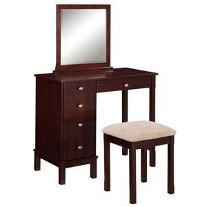 Transitional Dressing Table with Mirror and Side Storage