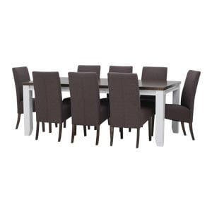 Contemporary Wooden 8 Seater Dining Table Set with Fabric Upholst...