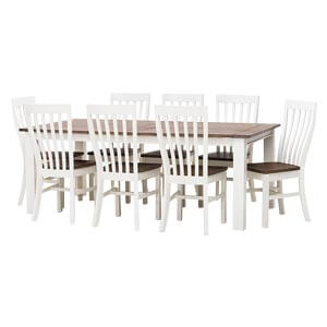 Classic Two Tone 8 Seater Dining Table Set with Slat back Chairs