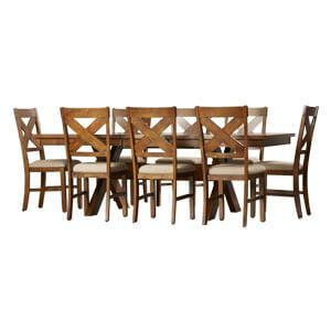 Classic 8 Seater Wooden Dining Table Set with Cross back Chairs