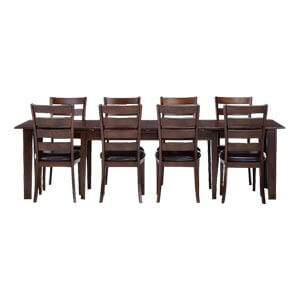 Contemporary Ladder back 8 Seater Dining Table Set with Leatheret...