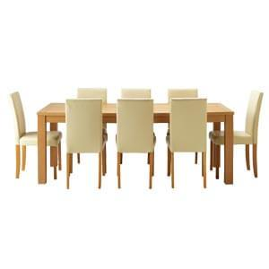 Modern 8 Seater Dining Set with Upholstered Chairs