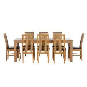 Transitional 8 Seater Dining Set with Slatted Back Style