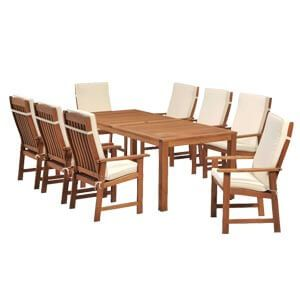 Transitional Style Dining Set with Light Wooden Tone and Cushione...