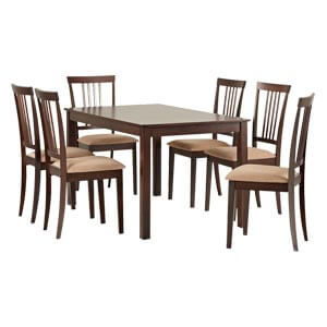 Transitional Style 6 Seater Dining Set with Plush Cushioning