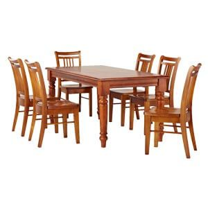 Transitional Style 6 Seater Dining Set In Light Wooden Tone