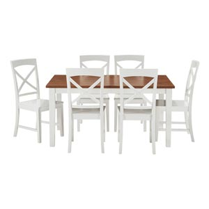 Transitional Style 6 Seater Dining Set With Cross Back