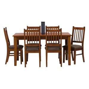 Transitional 6 Seater Dining Set with Plush Seats and Curved Back...
