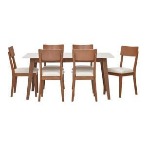 Modern 6 Seater Dining Set with a Sleek Look and Curved Chair Bac...