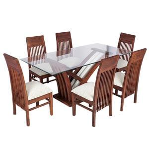 Transitional Glass Dining Table Set with Six Tall Back Chairs