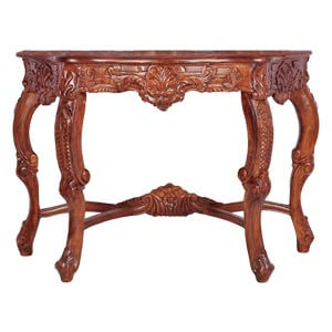 Classic Mirrorless Dressing Table with Floral Hand Carvings