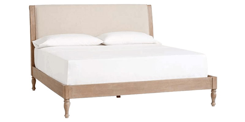 King Size Upholstered Bed In Shabby Chic Style