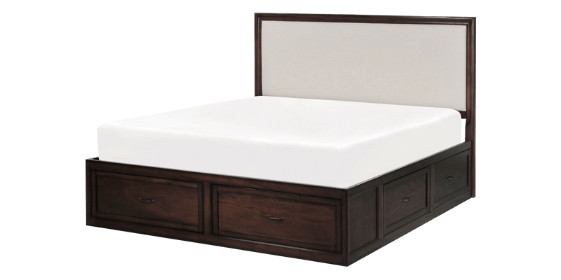 king size panel bed with storage and upholstered headboard. Black Bedroom Furniture Sets. Home Design Ideas