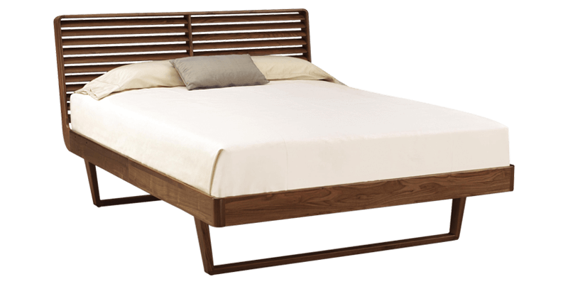 King Size Panel Bed with Slatted Headboard and S...