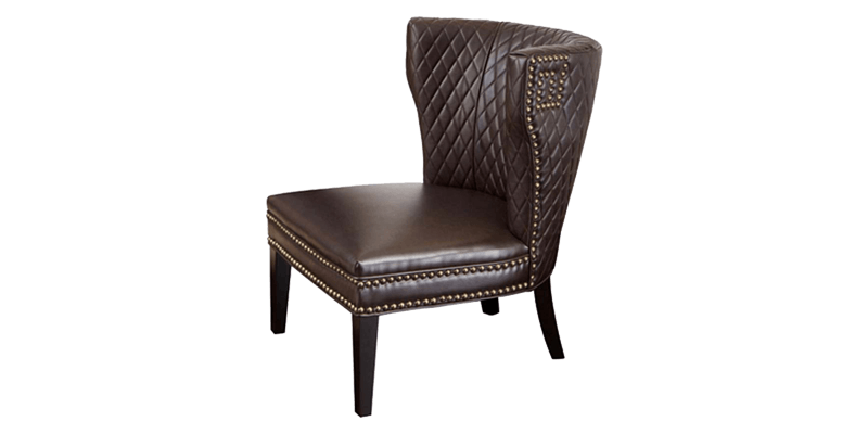 Brown Slipper Chair with a Wingback Side