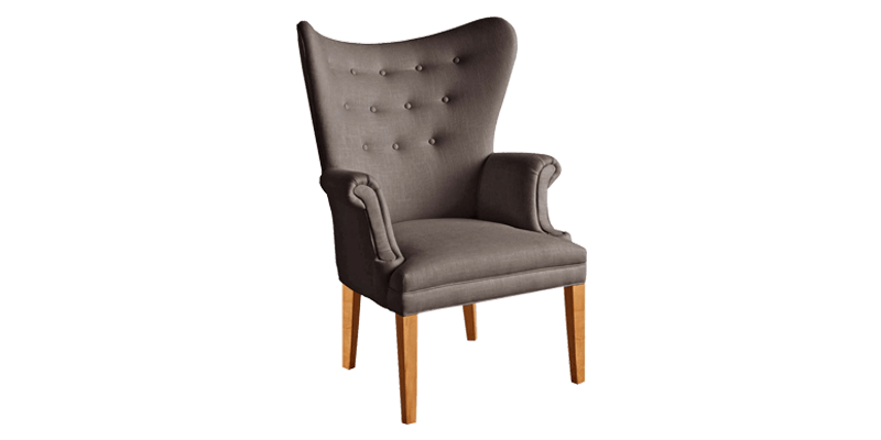 Grey Modern Accent Chair with a Winged Back Styl...