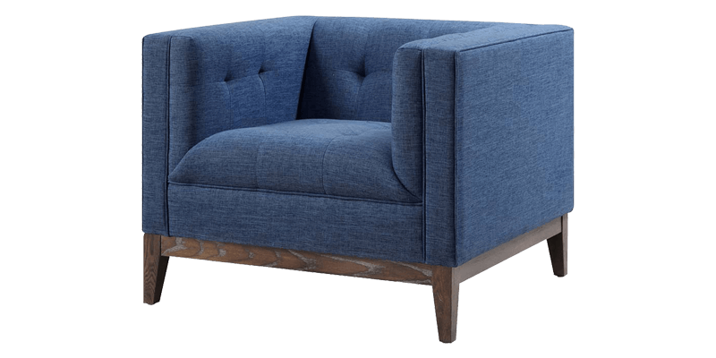 Blue Accent Chair With Tuxedo Arms And Tuftings