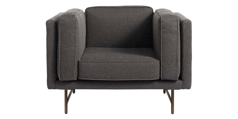 Grey Accent Chair with a Tuxedo Style Back and C...