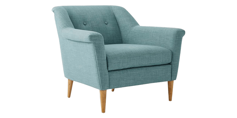 Blue Fabric Accent Chair With Cushion Seat