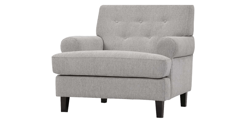 Grey Fabric Accent Chair Having Loose Cushion Seat