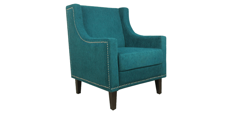 Blue Upholstered Wingback Chair With Nailhead Trim