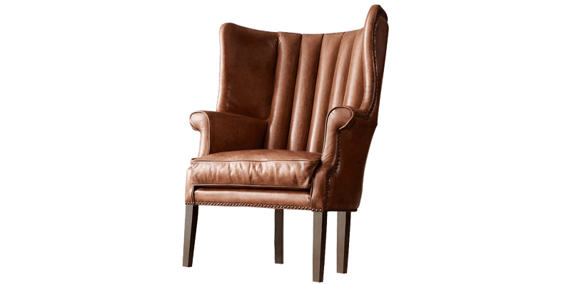 Leatherette Wingback Chair with Channel-Stitched...