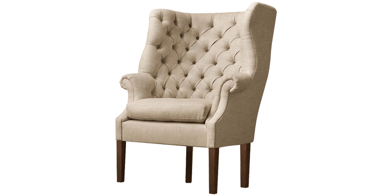 High Back Wingback Chair in White with Tufting D...