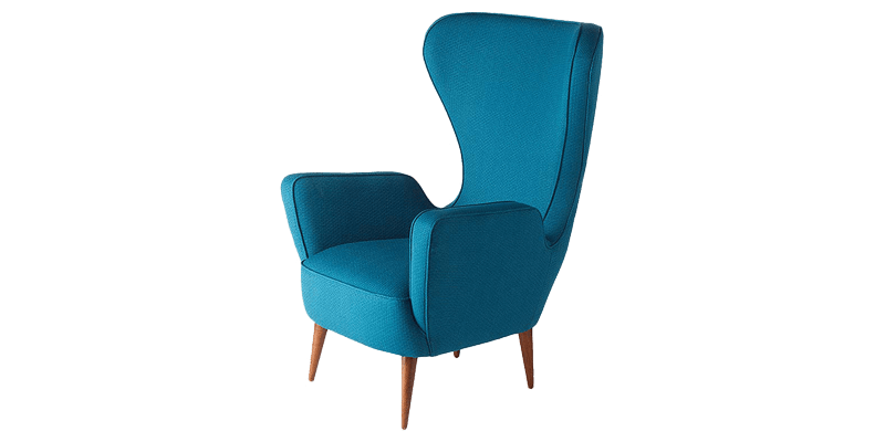 Blue Curved Wingback Chair with Minimal Look