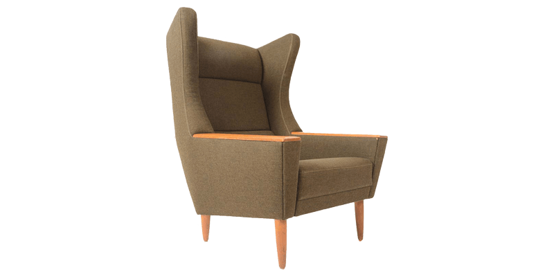 Modern Wingback Chair with Deep Stitched Back