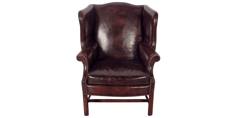 Brown Classic Wingback Chair with Traditional Ro...