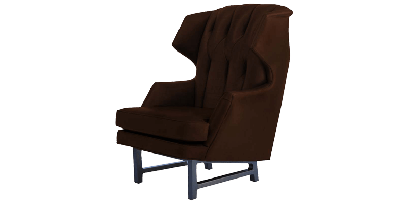 Leatherette Wingback Chair in Brown with a Relax...