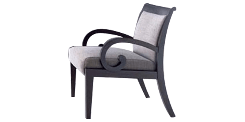 Light Grey Accent Chair with Tapered Back Legs