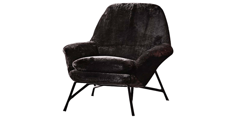 Velvet Accent Chair with Low Curved Padded Arms