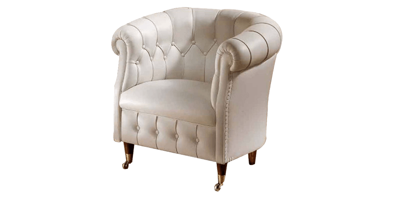 White Wooden Accent Chair with Conical Legs